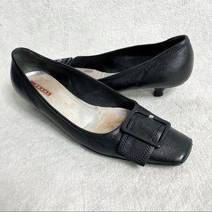Prada sport black kitten heels with buckle 10 1/2